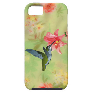 Hummingbird and Pink Lily on Floral Pattern iPhone 5 Case