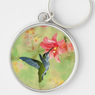 Hummingbird and Pink Lily on Floral Pattern Silver-Colored Round Key Ring