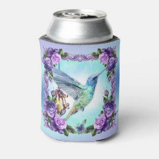 Hummingbird and rose Custom Can Cooler