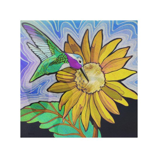 Hummingbird and Sunflower Canvas Print