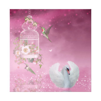 Hummingbird and Swan Canvas Print