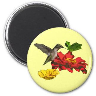 Hummingbird and Zinnias Magnet