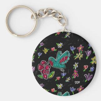 hummingbird art basic round button key ring