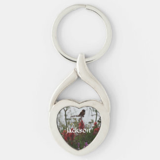 Hummingbird at Dusk Silver-Colored Twisted Heart Key Ring