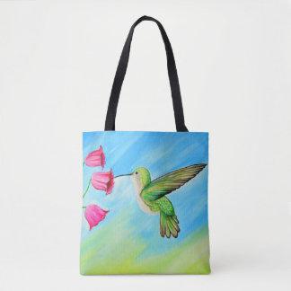 Hummingbird & Bell Flowers Tote Bag