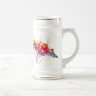 Hummingbird Bird Animal Wildlife Floral Beer Stein