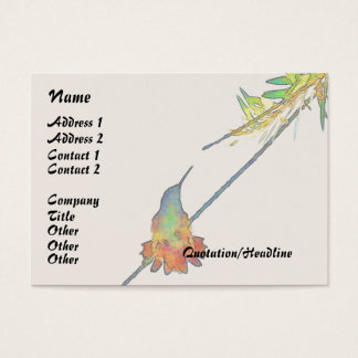 hummingbird Bird Animal Wildlife Floral Business Card