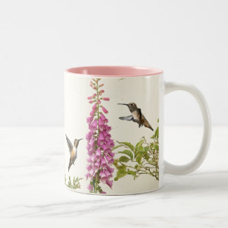 Hummingbird Bird Animal Wildlife Floral Two-Tone Coffee Mug