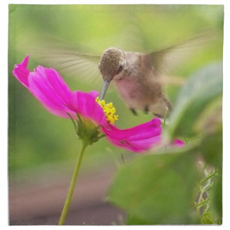 Hummingbird Bird Floral Animal Wildlife Flower Cloth Napkin