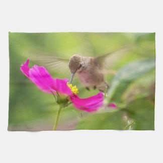 Hummingbird Bird Floral Animal Wildlife Flower Tea Towel