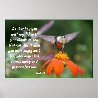 Hummingbird Bird Flower Floral Isaiah 12:2 Poster