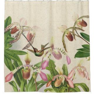 Hummingbird Bird Ladys Slipper Orchid Flowers Shower Curtain