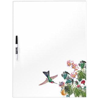 Hummingbird Bird Tropical Flowers Dry Erase Board