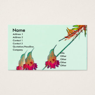 Hummingbird Bird Wildlife Animal Floral Business Card