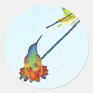 Hummingbird Bird Wildlife Animal Floral Classic Round Sticker