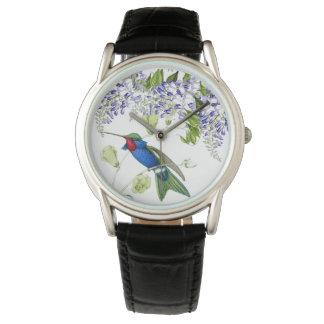 Hummingbird Bird Wisteria Floral Flowers Watch