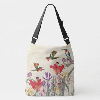 Hummingbird Birds Animal Flowers Shoulder Tote Bag