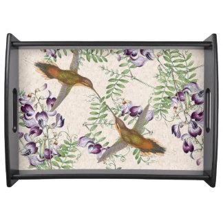 Hummingbird Birds Animals Flowers Serving Tray