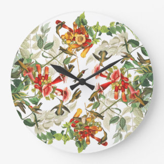Hummingbird Birds Audubon Floral Animal Wall Clock