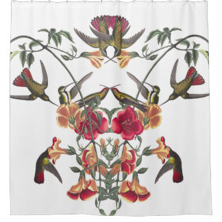 Hummingbird Birds Audubon Flower Shower Curtain