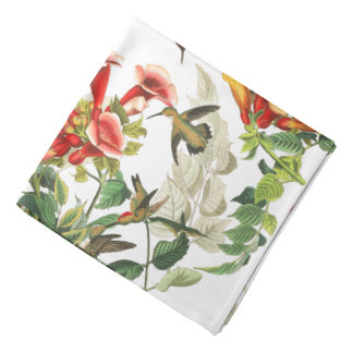 Hummingbird Birds Audubon Flowers Floral Bandana