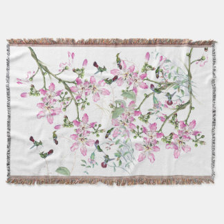 Hummingbird Birds Flower Blossoms Throw Blanket