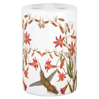 Hummingbird Birds Flower Floral Wildlife Animal Bath Set