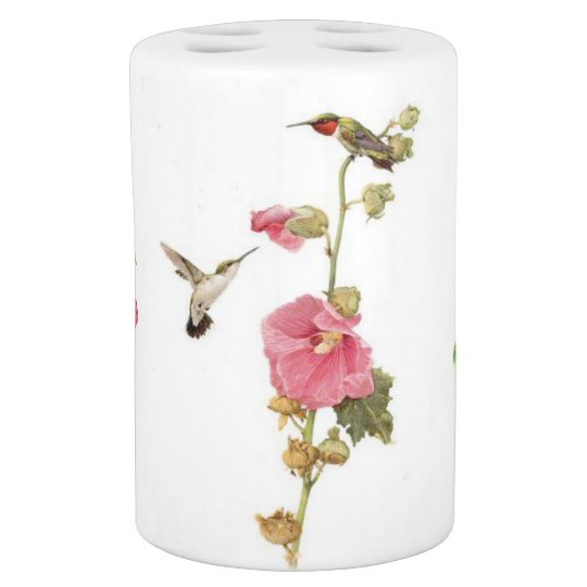 Hummingbird Birds Flower Floral Wildlife Animal Bathroom Set