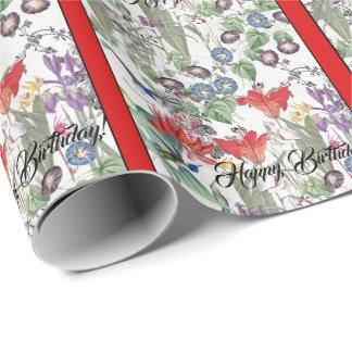 Hummingbird Birds Flowers Birthday Wrapping Paper