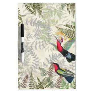 Hummingbird Birds Flowers Ferns Dry Erase Board