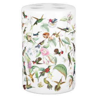 Hummingbird Birds Flowers Floral Bath Set