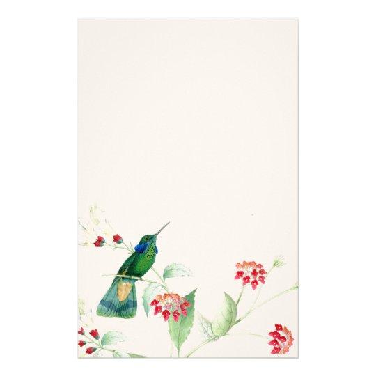 Hummingbird Birds Flowers Floral Wildlife Animals Stationery