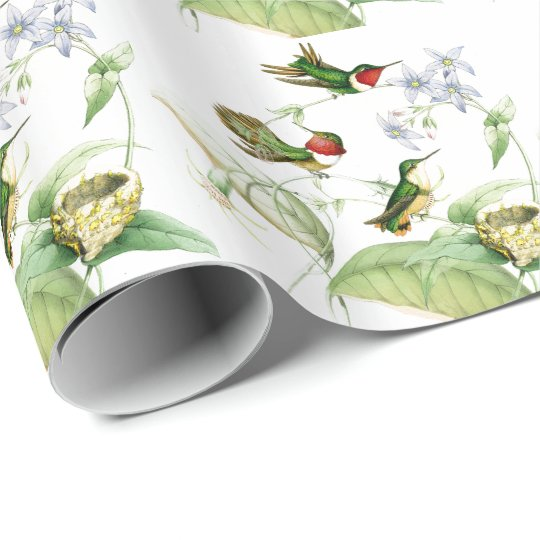 Hummingbird Birds Flowers Floral Wrapping Paper