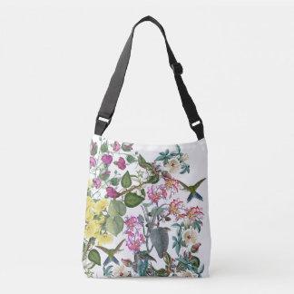 Hummingbird Birds Flowers Shoulder Tote Bag