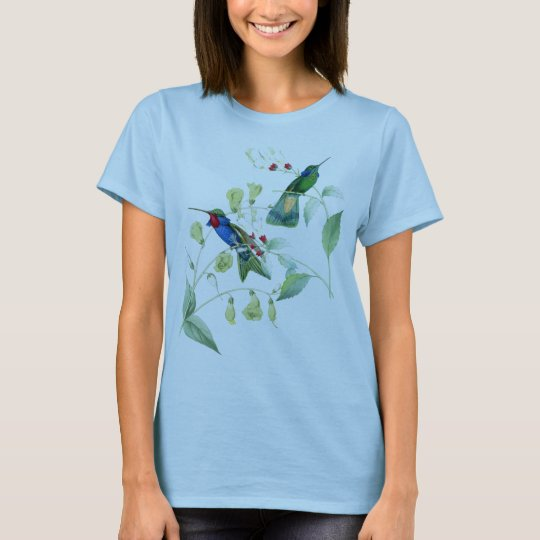 Hummingbird Birds Flowers Wildlife Animals Floral T-Shirt