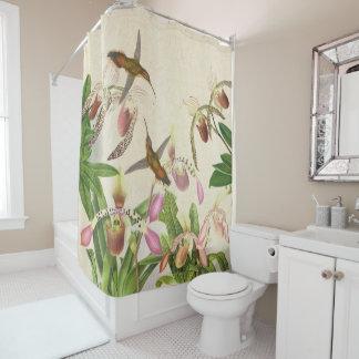 Hummingbird Birds Ladys Slipper Orchid Flowers Shower Curtain