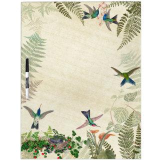 Hummingbird Birds Nest Fern Floral Dry Erase Board