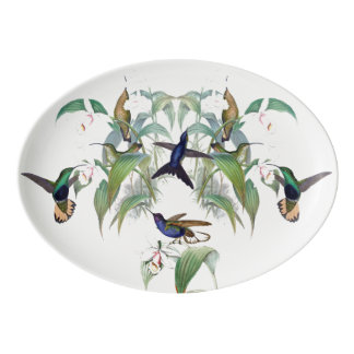 Hummingbird Birds Orchid Flowers Serving Platter