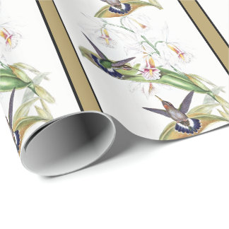 Hummingbird Birds Orchid Flowers Wrapping Paper