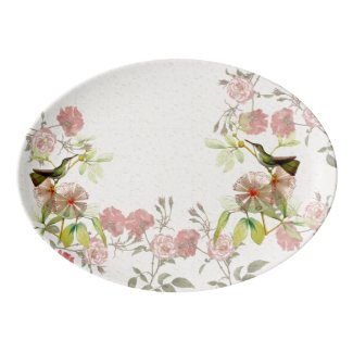 Hummingbird Birds Rose Flowers Serving Platter