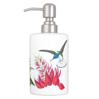 Hummingbird Birds Wildlife Animal Flowers Bath Set