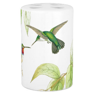 Hummingbird Birds Wildlife Animals Flowers Floral Soap Dispenser And Toothbrush Holder