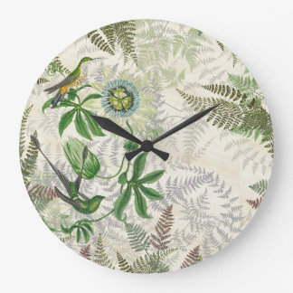 Hummingbird Birds Wildlife Fern Flowers Wall Clock
