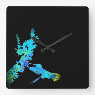 Hummingbird Birds Wildlife Floral Animal Clock