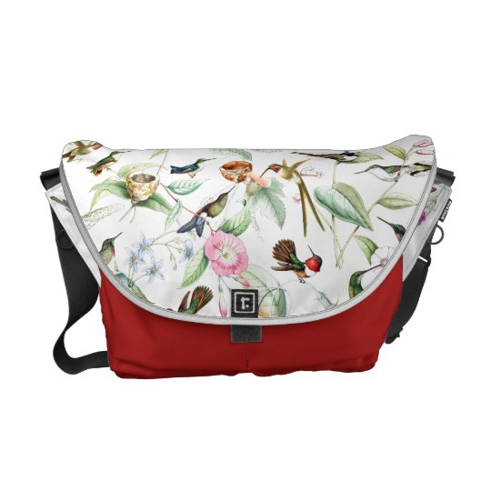 Hummingbird Birds Wildlife Flowers Messenger Bag