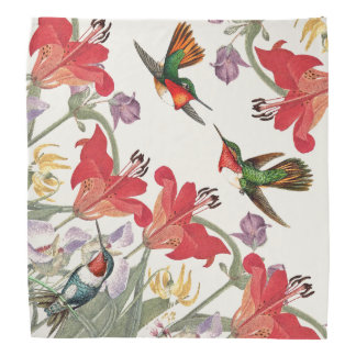 Hummingbird Birds Wildlife Lily Flowers Bandana
