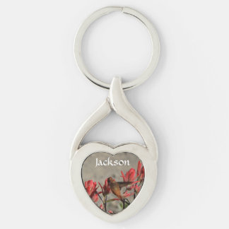 hummingbird cardinal flw. Silver-Colored twisted heart key ring