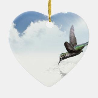 Hummingbird Ceramic Heart Decoration