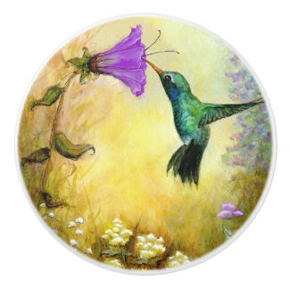 """Hummingbird"" Ceramic Knob"