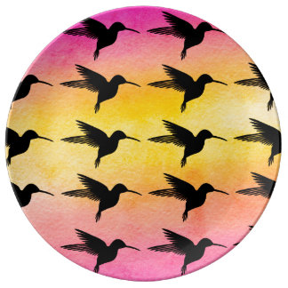 Hummingbird Colorfull Pattern Ceramic Plate